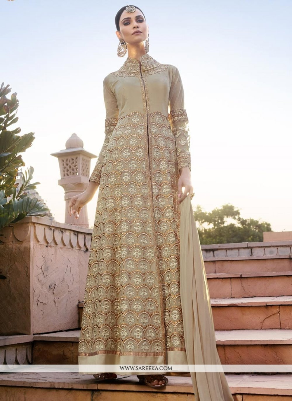 Lace Work Floor Length Anarkali Suit