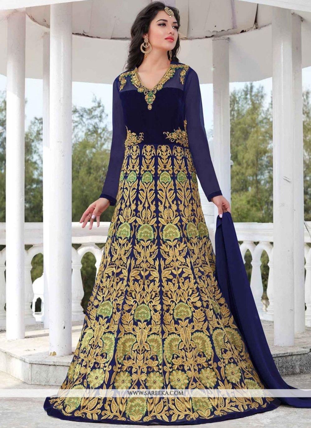 Lace Work Navy Blue Faux Georgette Floor Length Anarkali Suit