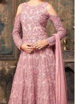 Lace Work Net Pink Floor Length Anarkali Suit