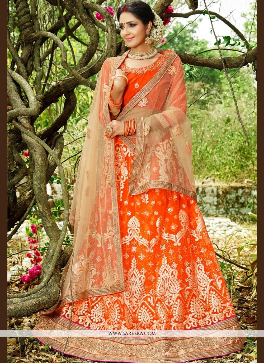 Lace Work Orange Lehenga Choli
