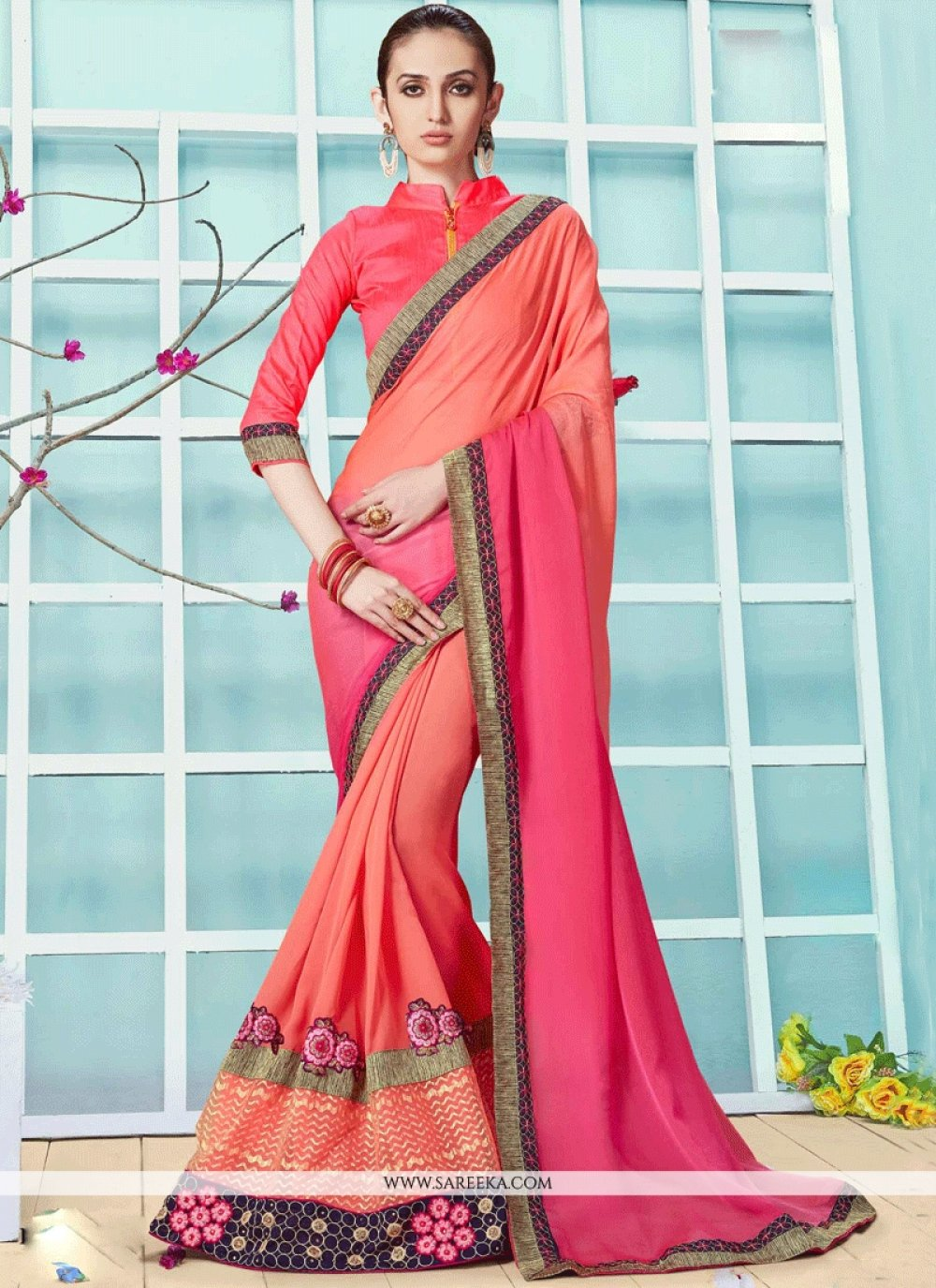Lace Work Peach and Rose Pink Shaded Saree