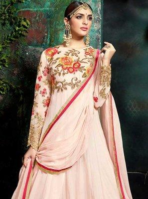 Lace Work Pink Floor Length Anarkali Suit