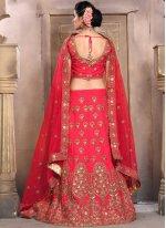 Lace Work Red Lehenga Choli