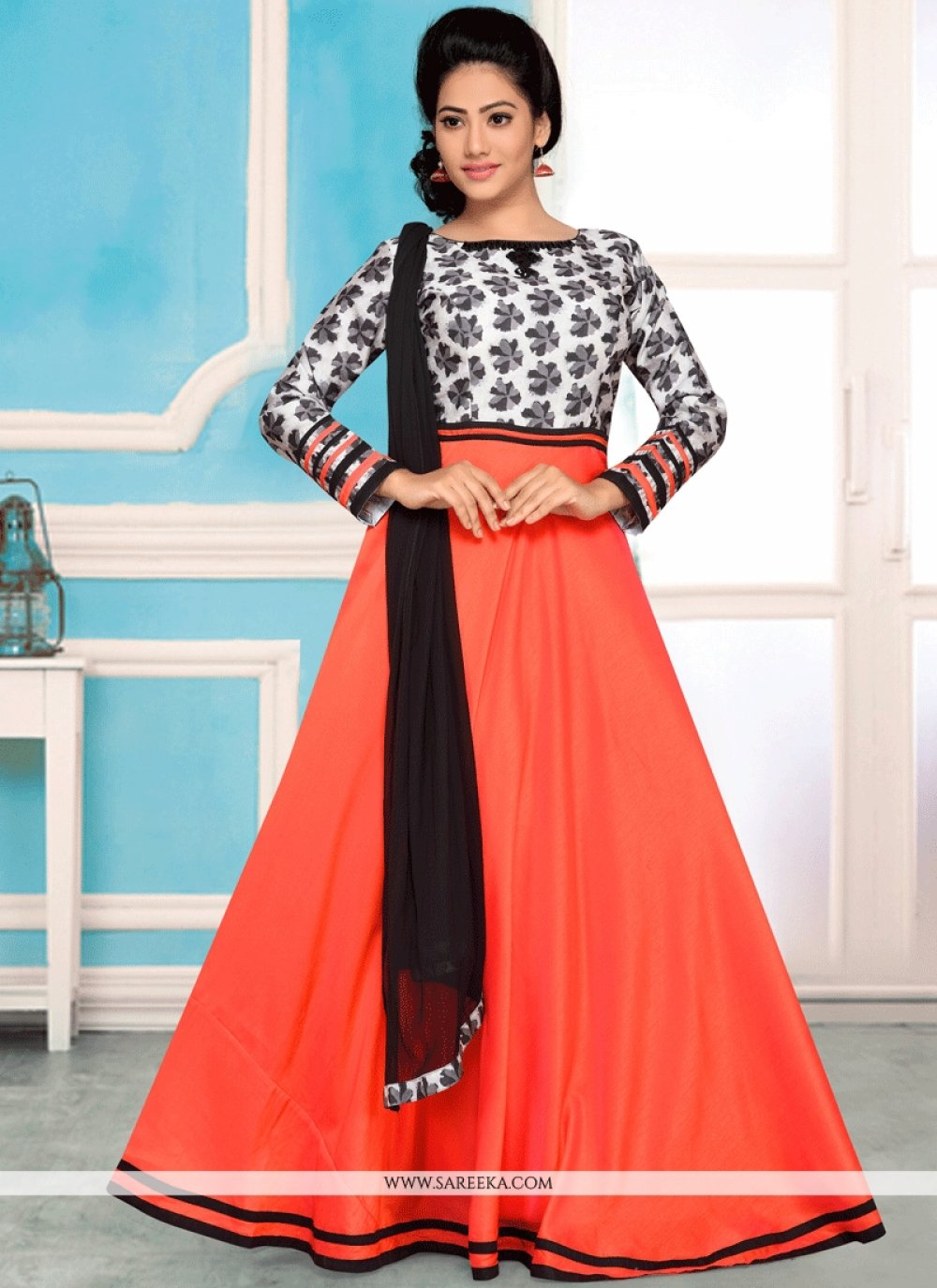 Lace Work Satin Silk Orange Readymade Anarkali Suit