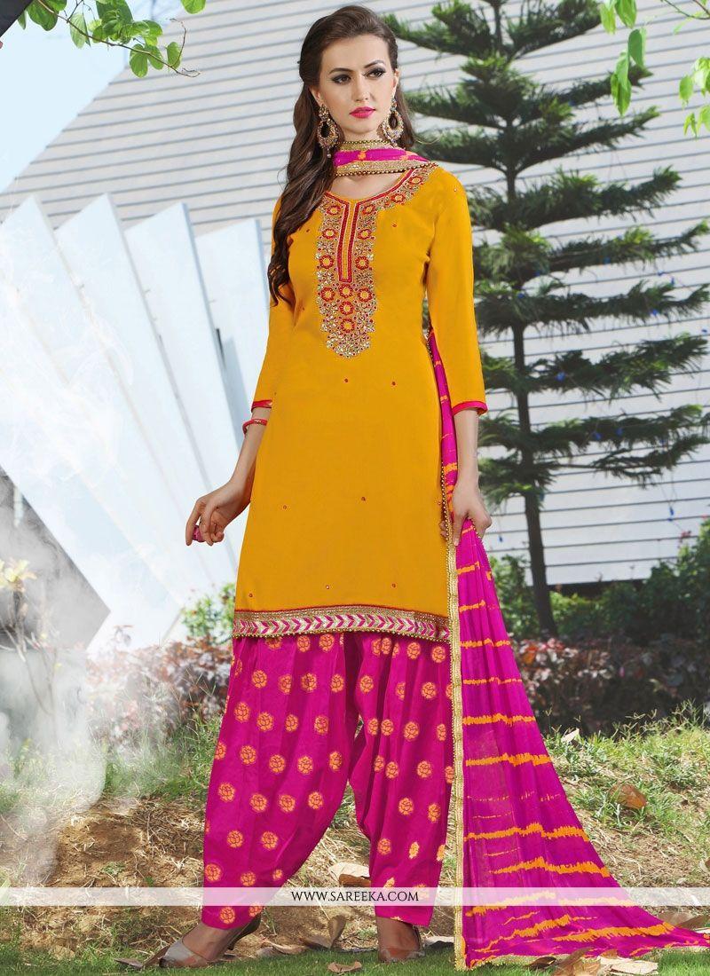 Cotton   Lace Work Punjabi Suit