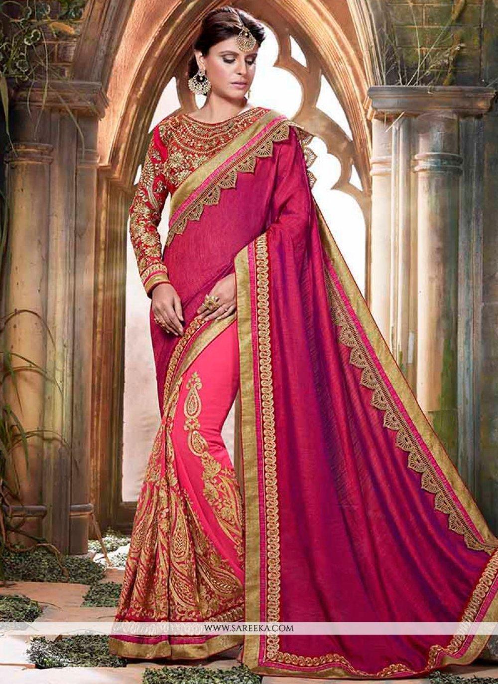 Magenta and Pink Resham Work Art Silk Designer Half N Half Saree