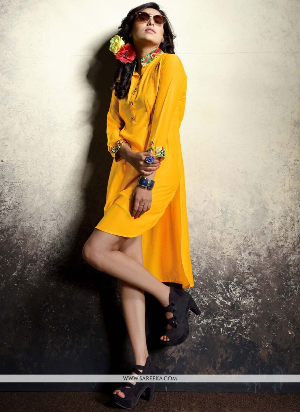 Mustard Print Work Rayon Party Wear Kurti