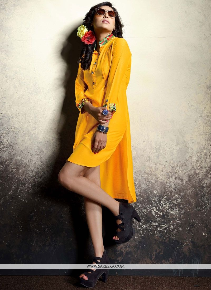 Mustard Print Work Rayon Party Wear Kurti