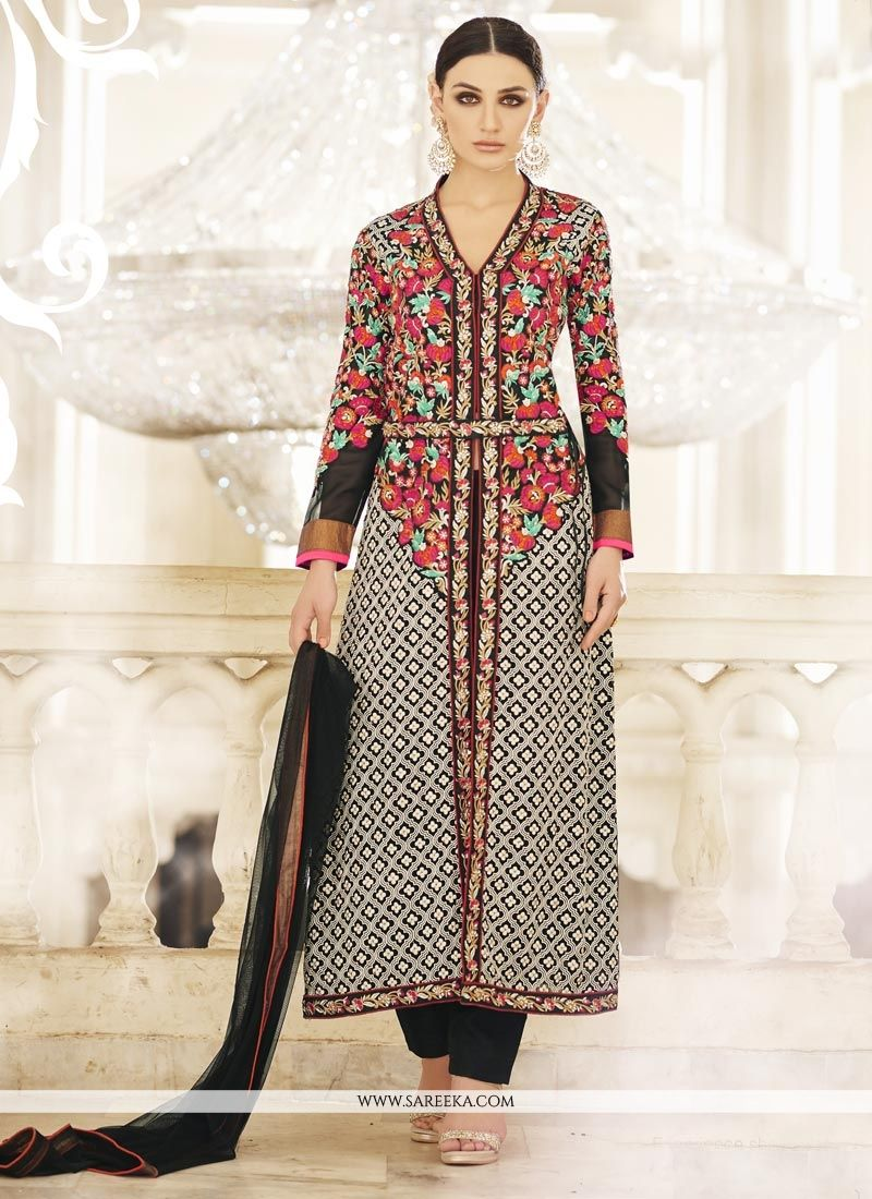 Resham Work Black Faux Georgette Designer Suit