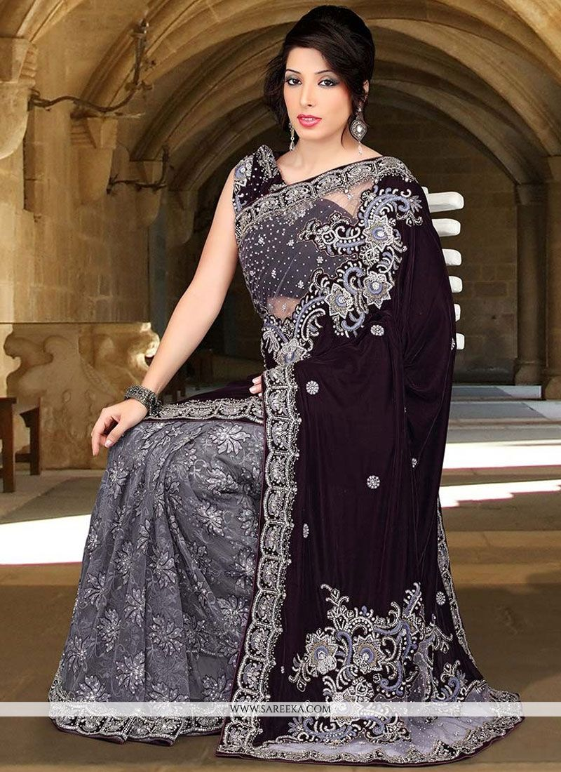 d7c70ec6bbab7 Buy Velvet Crystal Work Designer Half N Half Saree Online   Indian Ethnic  Wear -