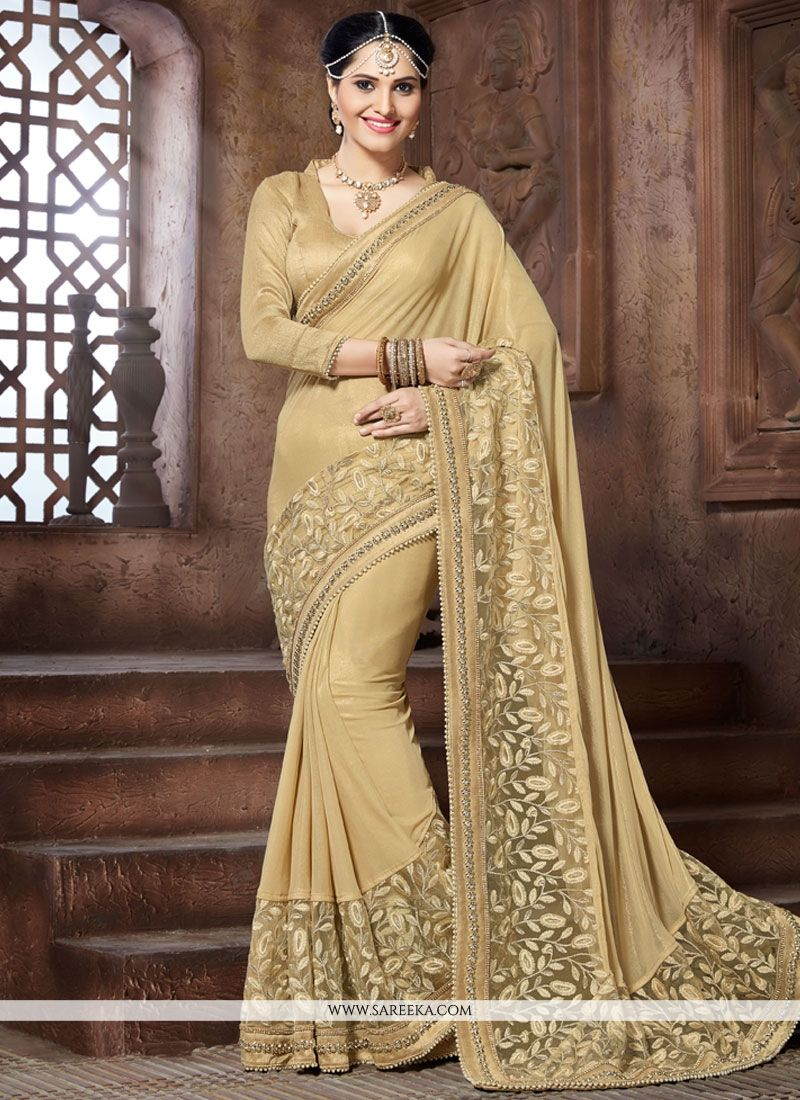 Beige Embroidered Work Designer Traditional Saree