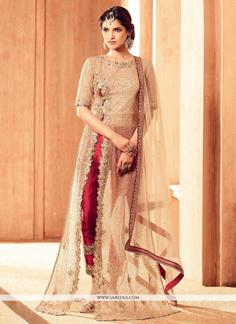 Beige Lace Work Net Designer Suit