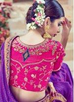 Purple Resham Work Art Silk Traditional Designer Saree