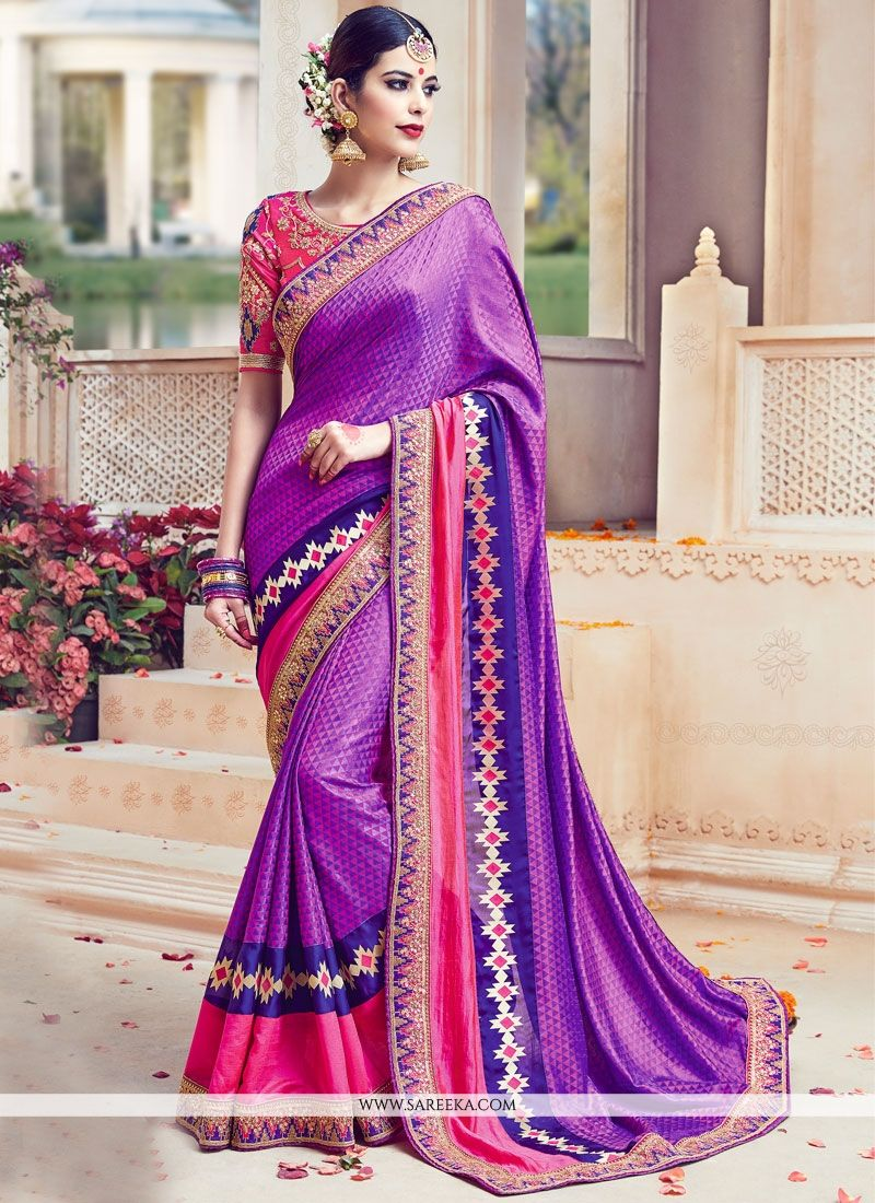 Purple Resham Work Art Silk Traditional Designer Saree