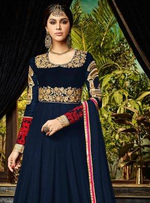 Resham Work Navy Blue Floor Length Anarkali Suit