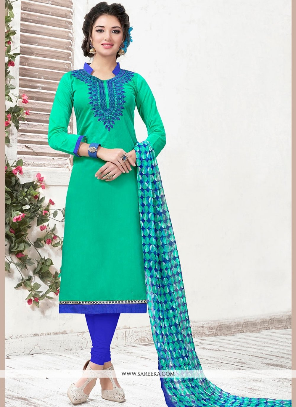 Chanderi Sea Green Lace Work Churidar Suit