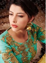 Embroidered Work Turquoise Banarasi Silk Designer Suit