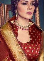 Maroon Art Silk Traditional Designer Saree