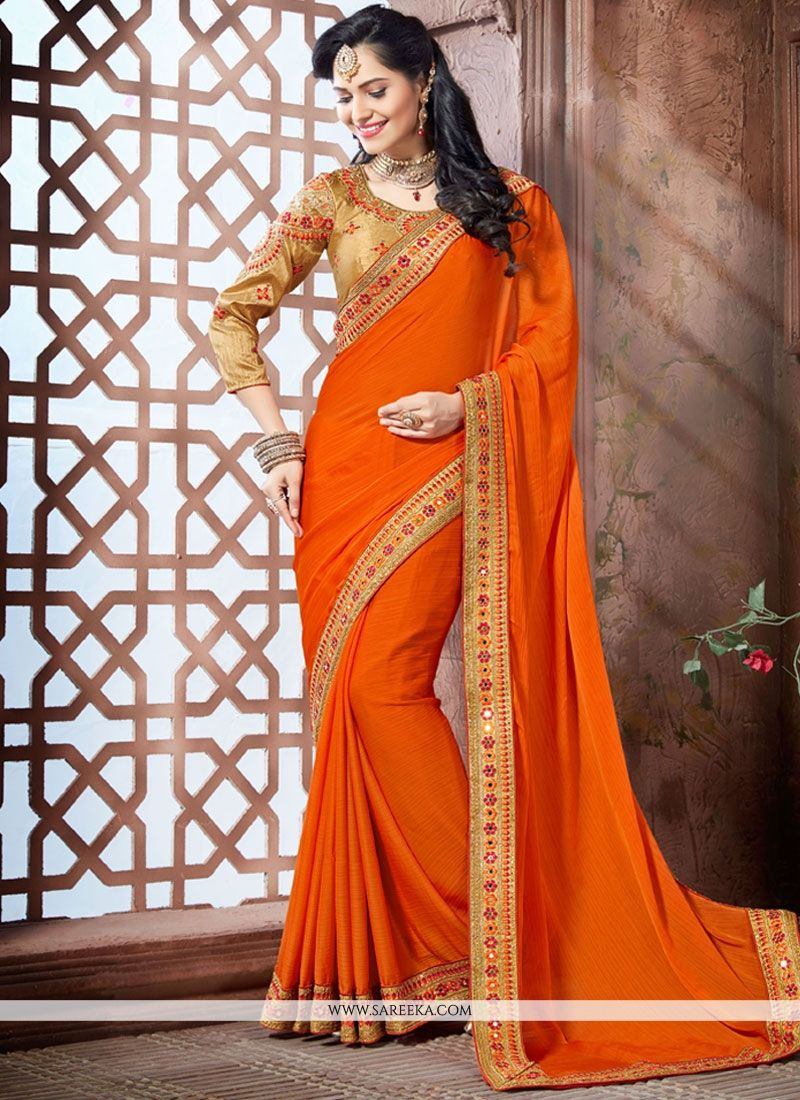 Patch Border Work Faux Chiffon Classic Saree