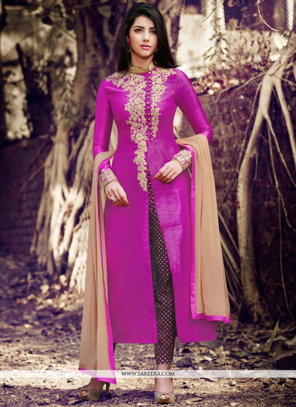 Magenta Handloom silk Pant Style Suit