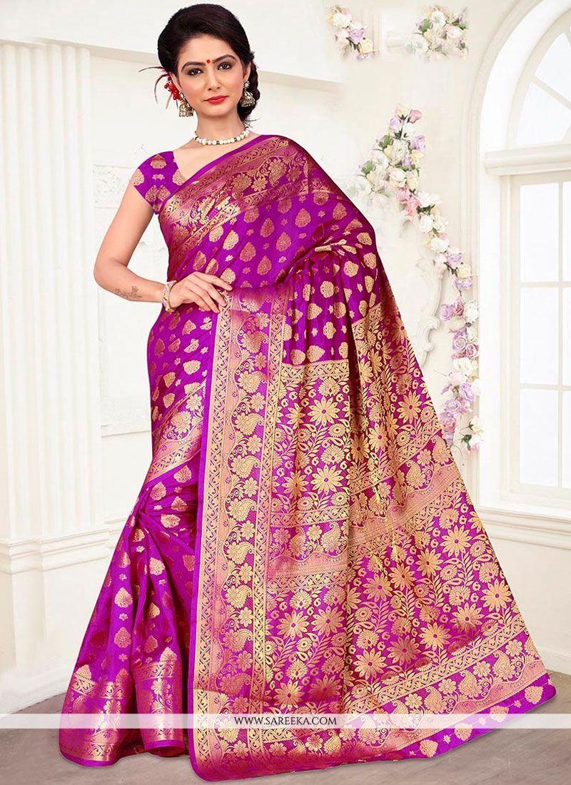 Magenta Weaving Work Banarasi Silk Designer Traditional Saree