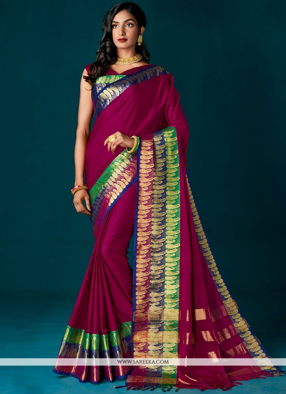 Magenta woven Work Cotton   Saree