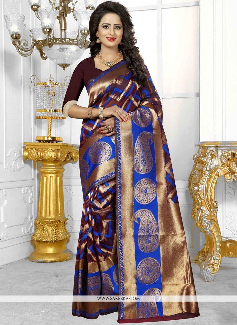 Brown Banarasi Silk Traditional  Saree