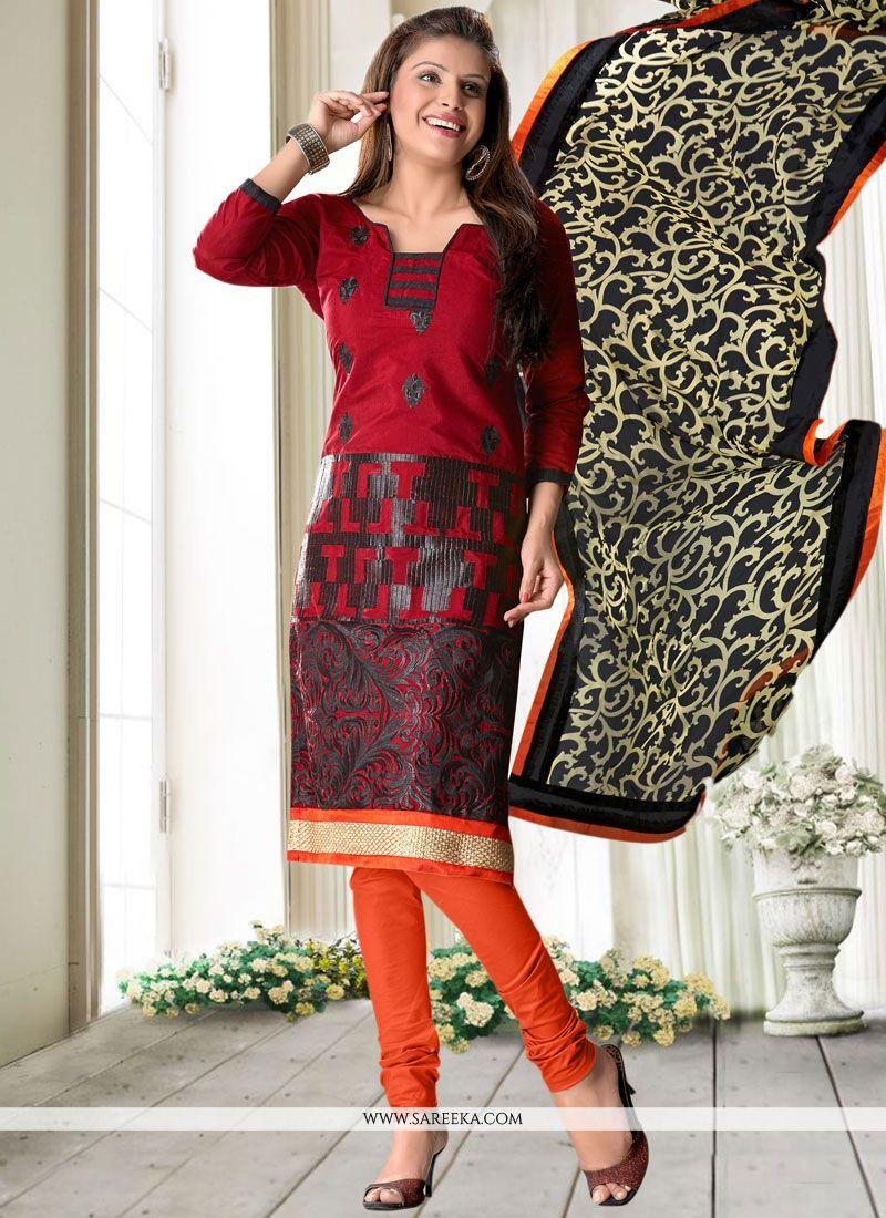 Print Work Maroon Cotton   Churidar Suit