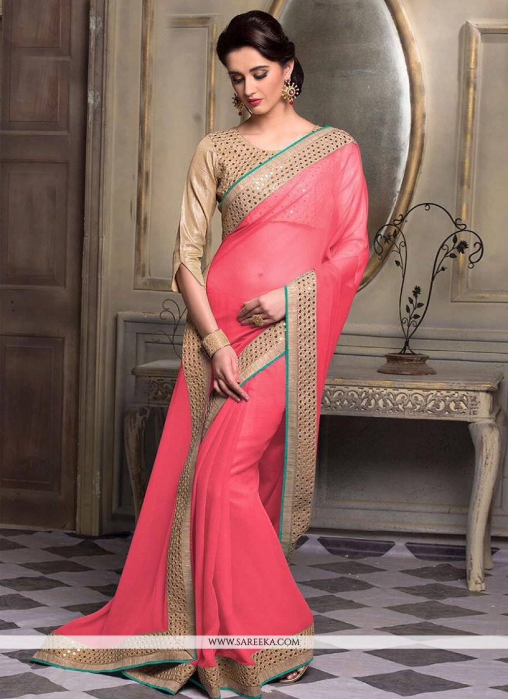 Patch Border Work Pink Saree