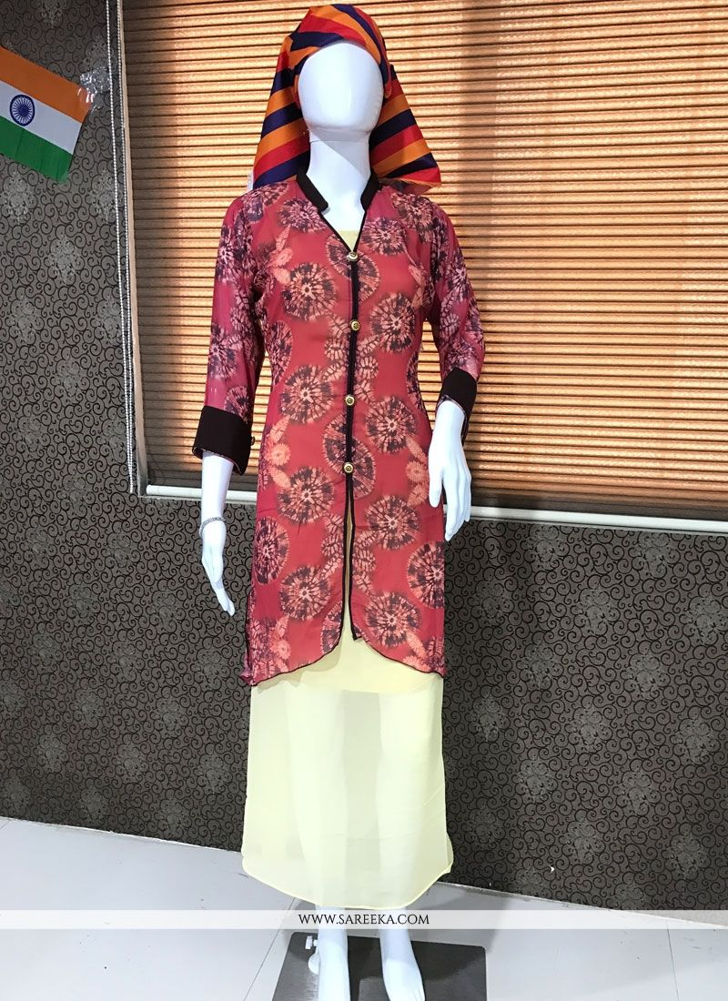 Print Work Faux Georgette Multi Colour Party Wear Kurti