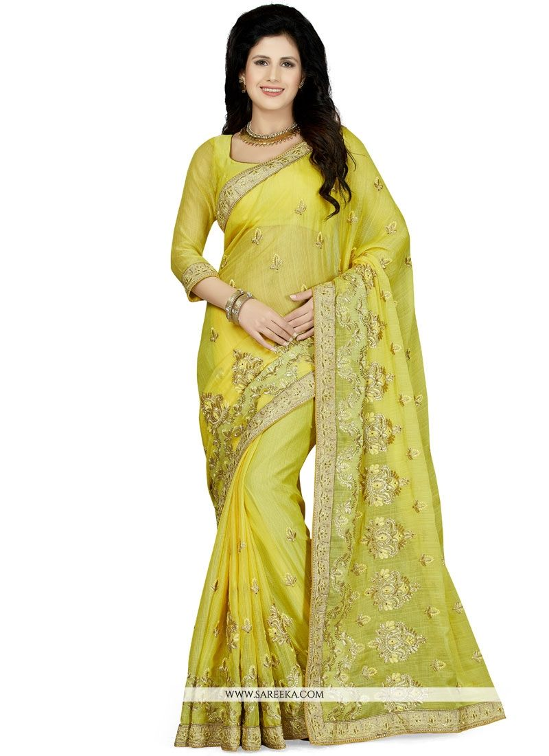 Yellow Patch Border Work Classic Saree