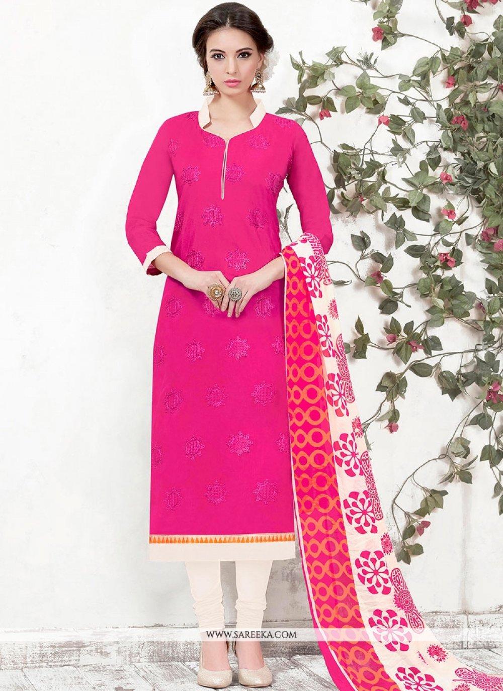 Chanderi Hot Pink Churidar Designer Suit