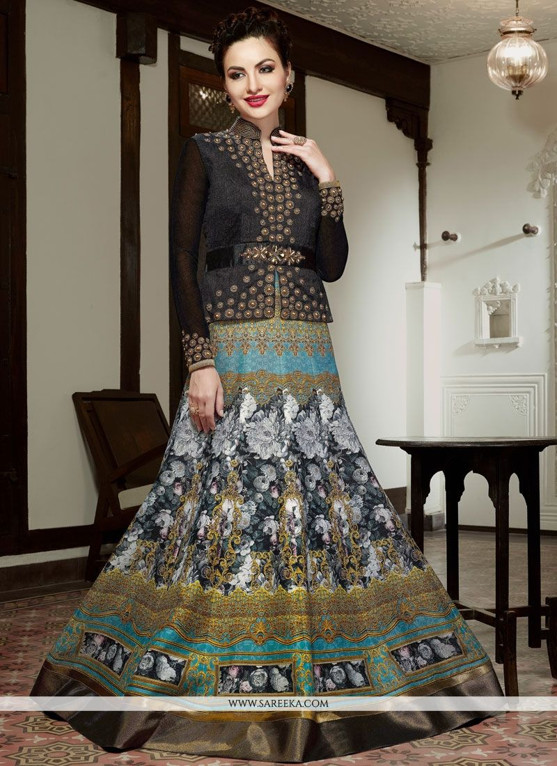 Embroidered Work Art Silk Multi Colour Floor Length Anarkali Salwar Suit