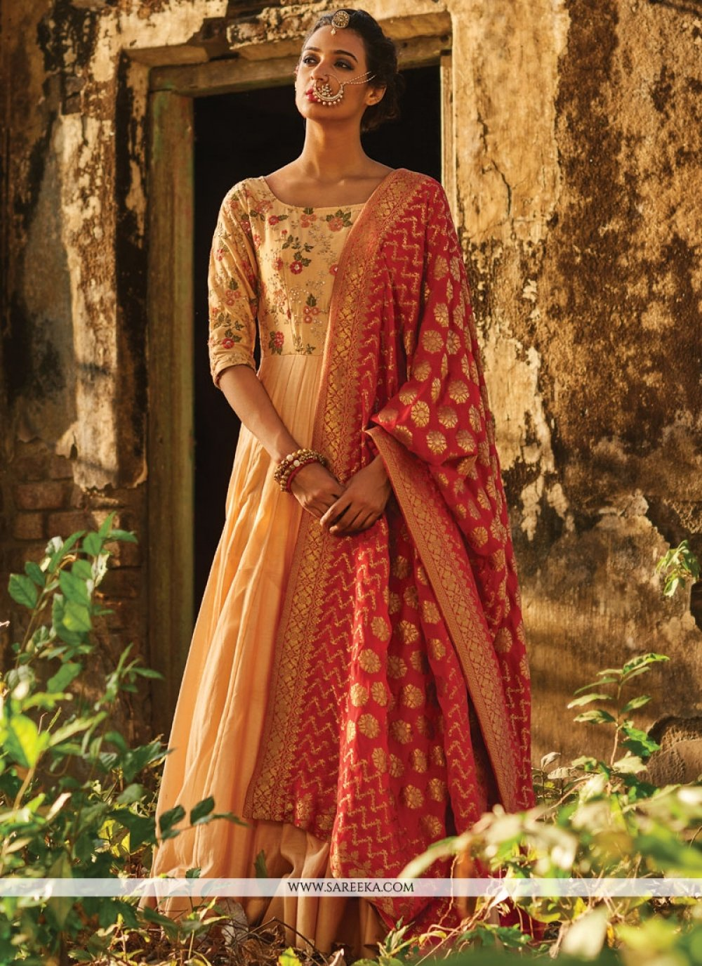 Sequins Work Banarasi Silk Beige and Red Floor Length Anarkali Suit