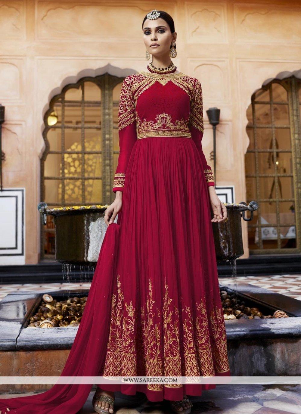 Maroon Resham Work Faux Georgette Floor Length Anarkali Suit