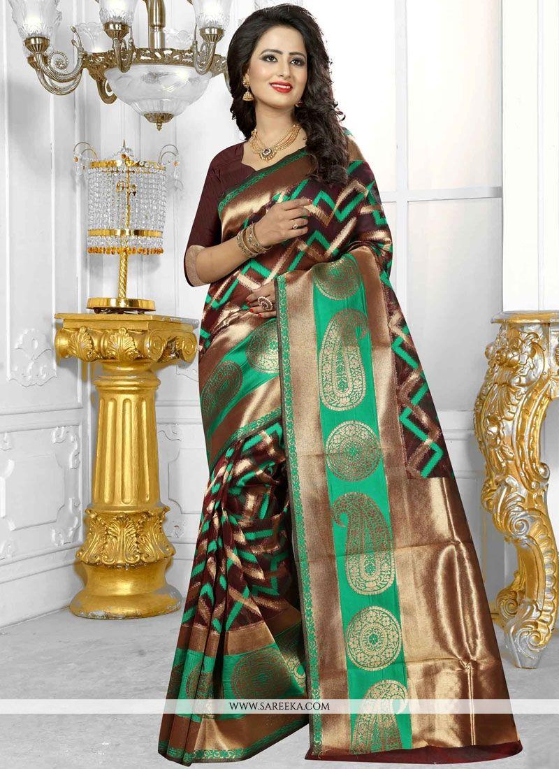 Banarasi Silk Brown Designer Traditional Saree