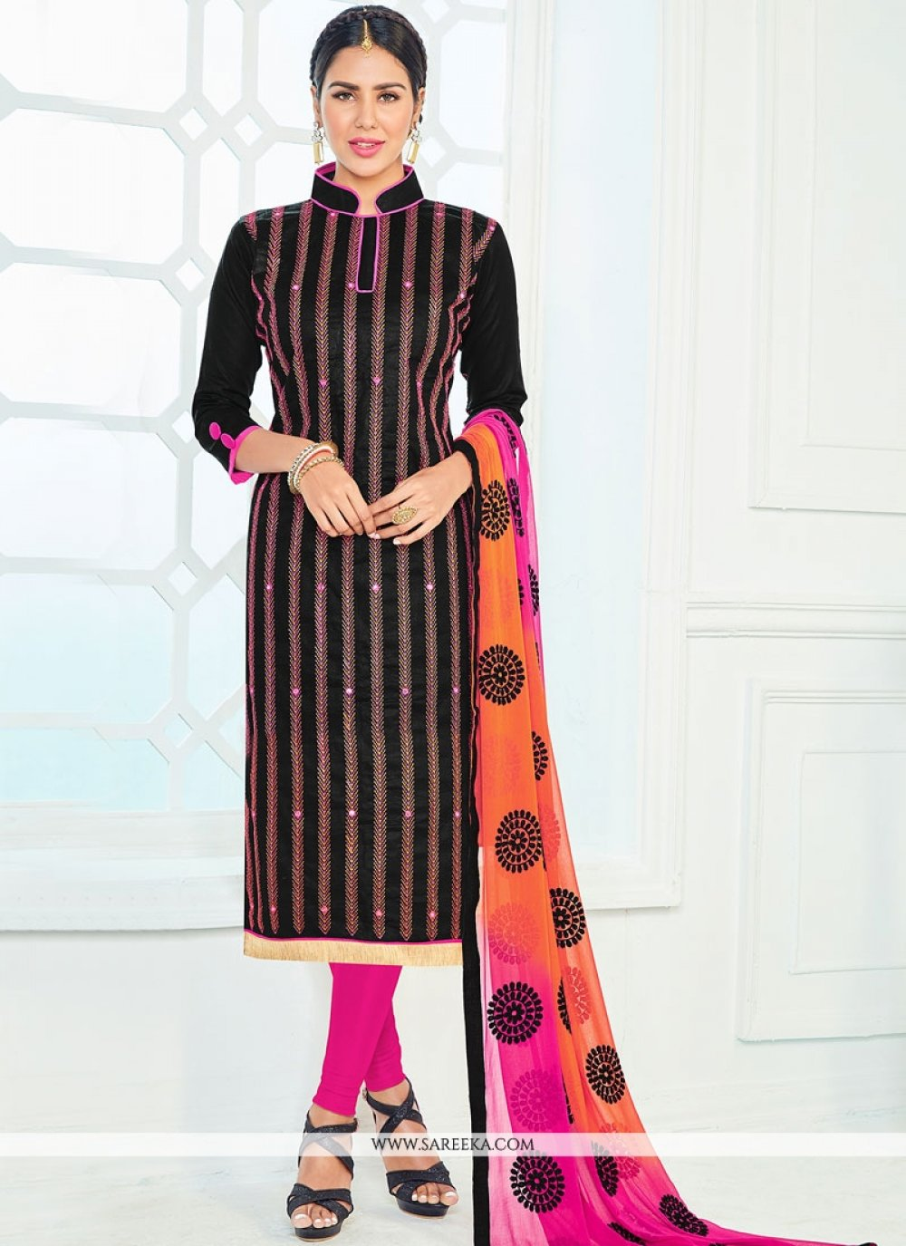 Black Lace Work Cotton   Churidar Suit