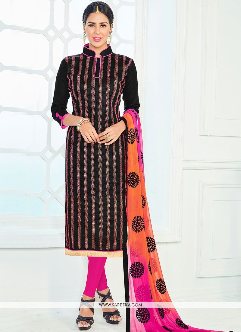 Black Lace Work Cotton   Churidar Suit
