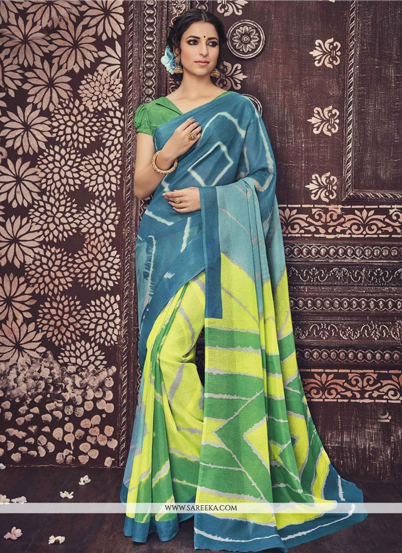 Blue and Yellow Print Work Casual Saree