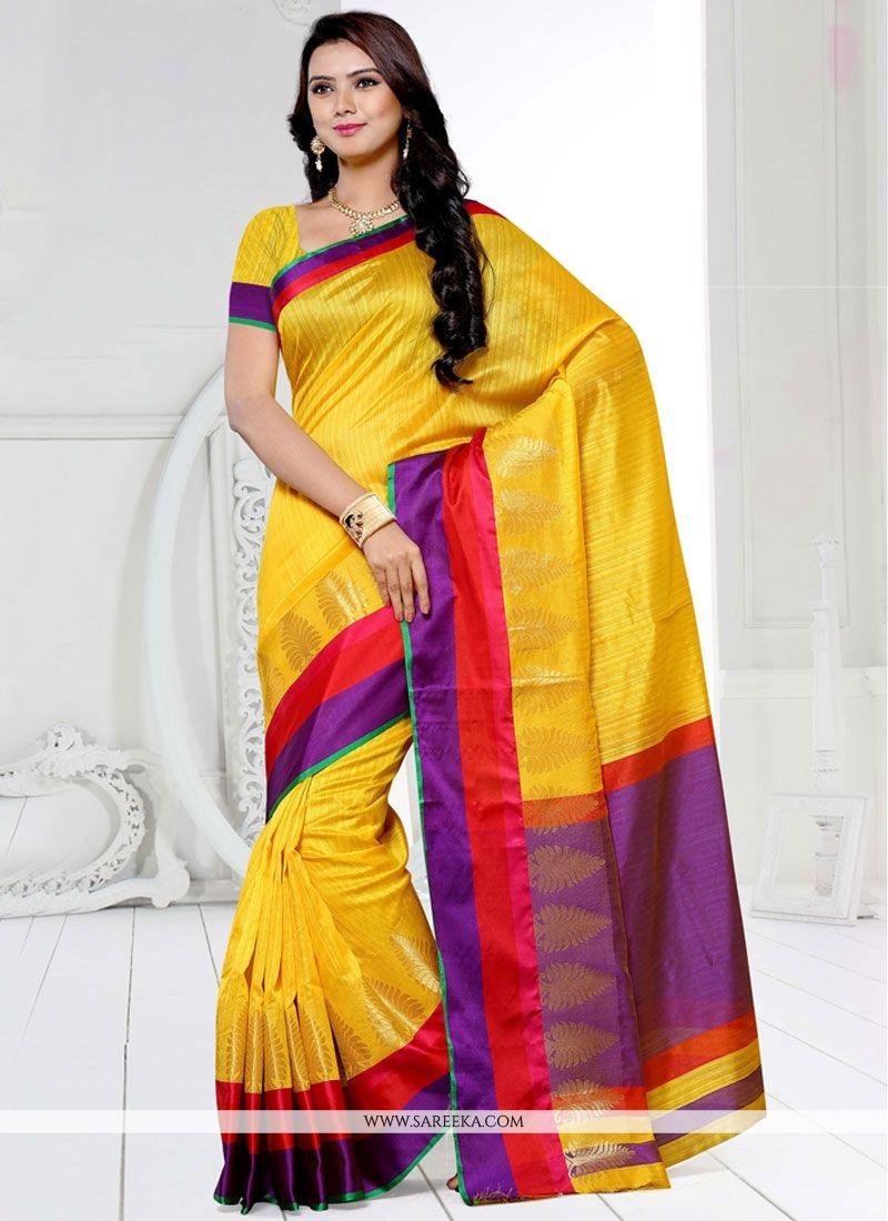 Yellow Weaving Work Designer Traditional Saree