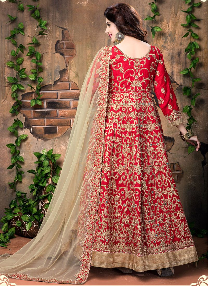 Buy red embroidered work banglori silk designer floor for Floor length suits