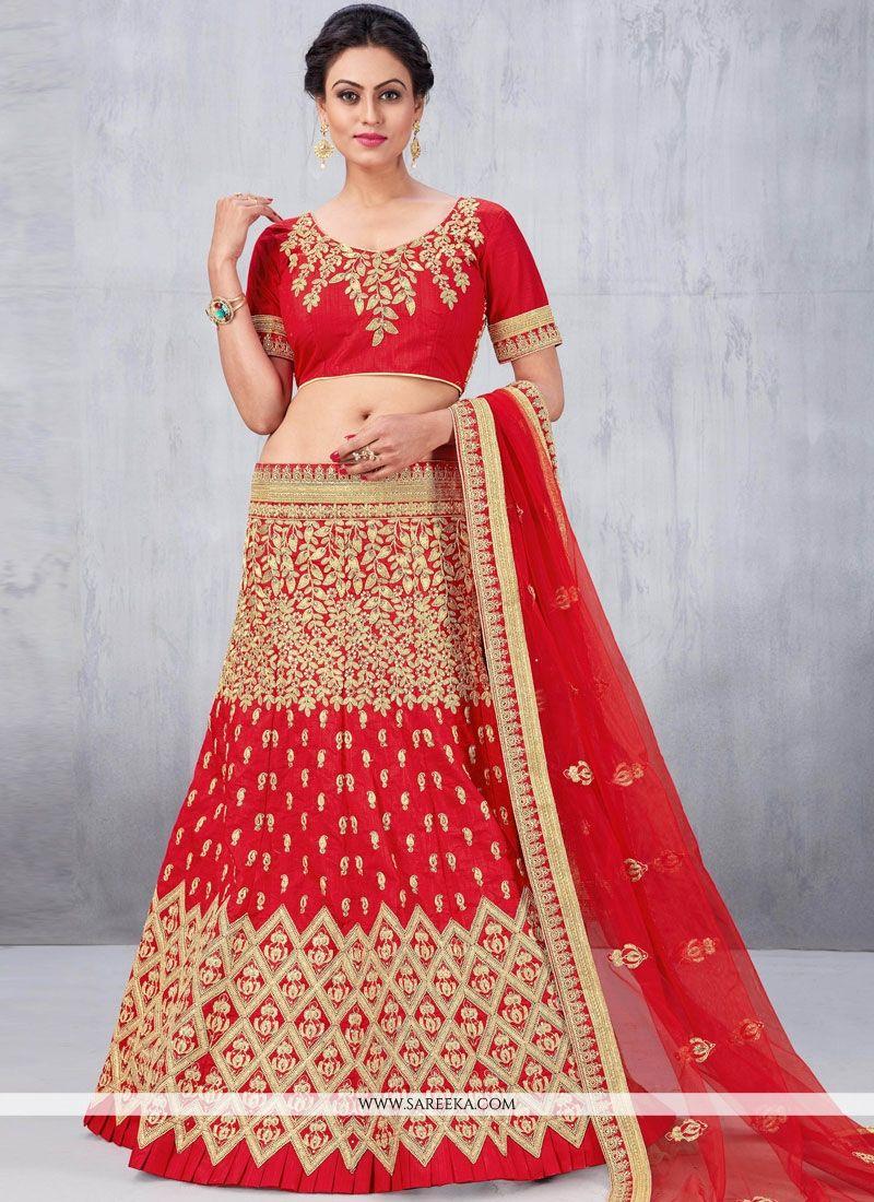 Art Silk Red Lehenga Choli