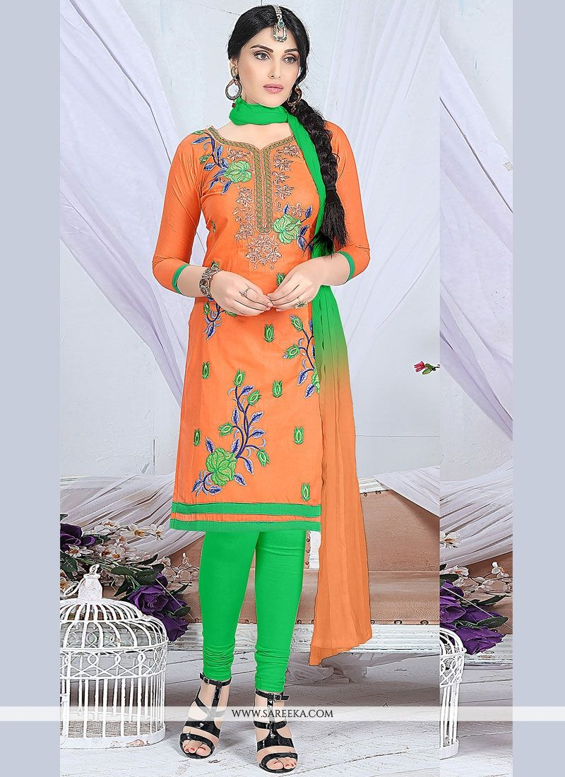 Embroidered Work Cotton   Green and Orange Churidar Suit