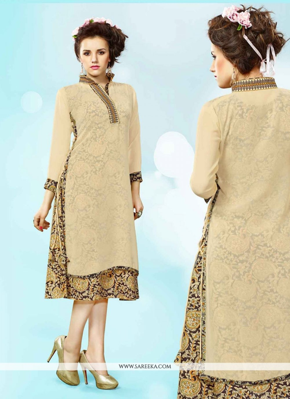 Embroidered Work Cream Faux Georgette Party Wear Kurti