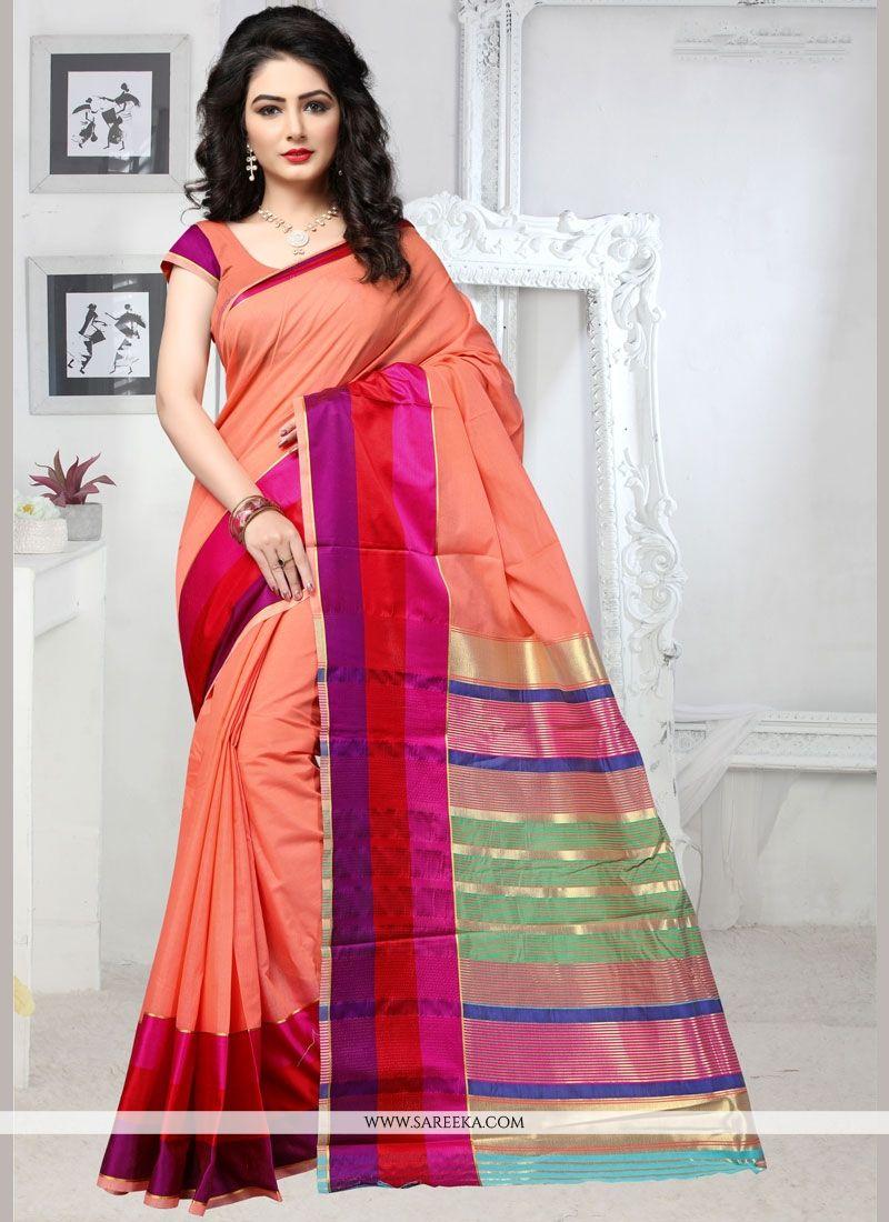Cotton Silk Orange Casual Saree