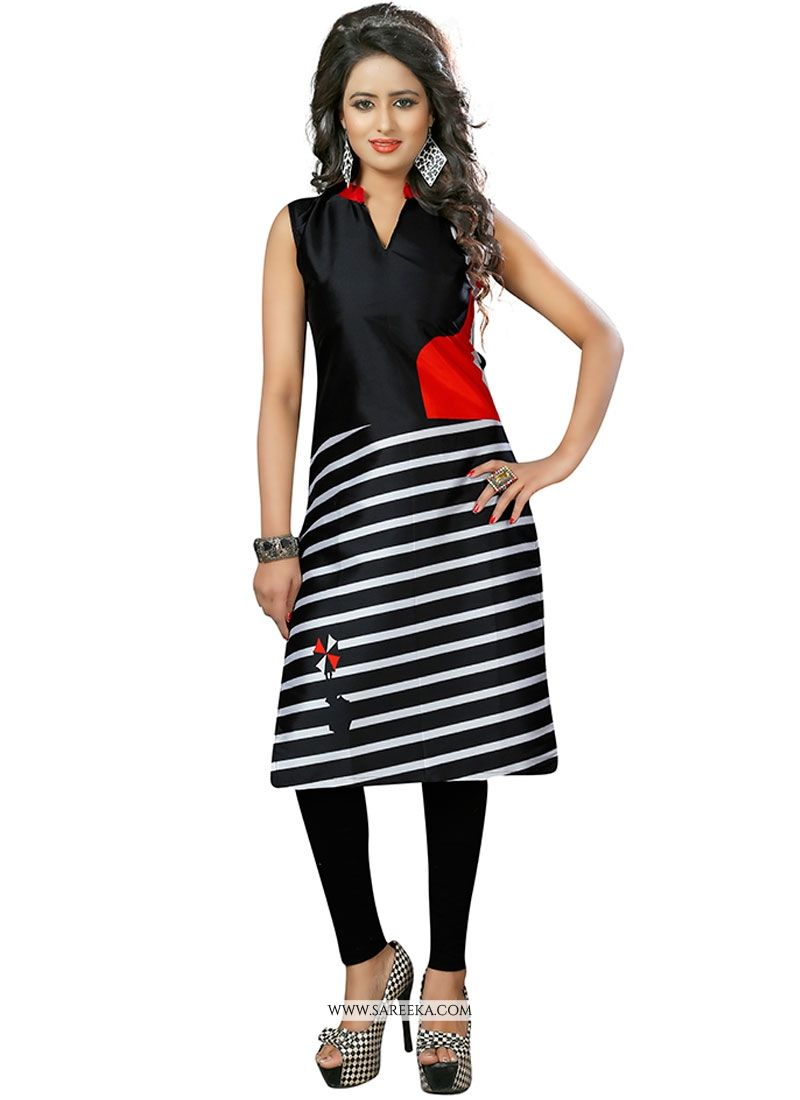 Faux Crepe Black Party Wear Kurti