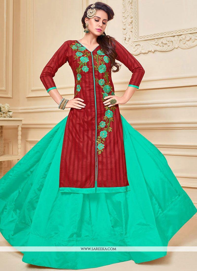 Maroon and Sea Green Lace Work Chanderi Cotton Long Choli Lehenga