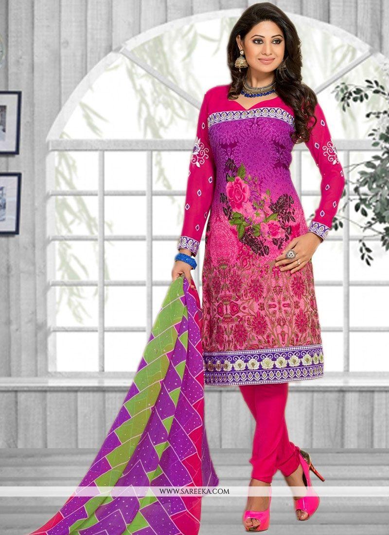 Print Work Multi Colour Faux Chiffon Churidar Suit