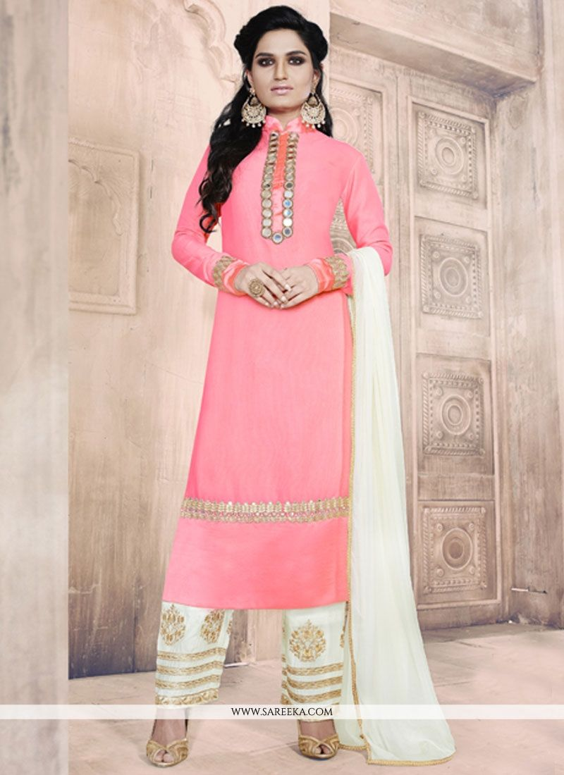 Mirror Work Pink Pant Style Suit