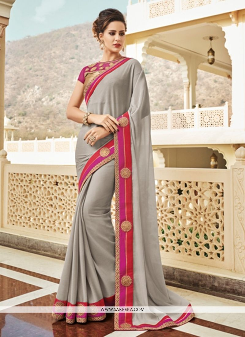Embroidered Work Grey Classic Saree
